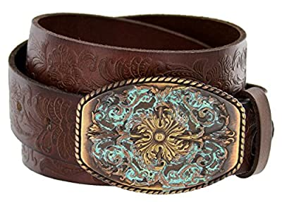 "Women's Western Tooled Full Grain Leather Jean Belt Brown 1.5"" Wide (Brown, 40)"
