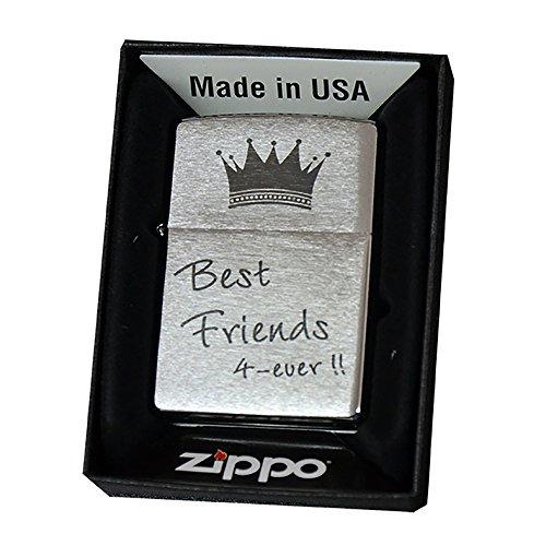 Zippo con incisione laser–'Best Friends 4Ever' con corona–ZIPPO CROMO SPAZZOLATO