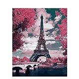 Pintar Por Número - Torre Eiffel roja de París - Para, Niños, Adultos Y Adultos Mayores, Diy Pintura Al Óleo Con Lino 16X20 Pulgadas Lienzo Arte Pintura Decoración Hogar - (Sin Marco)