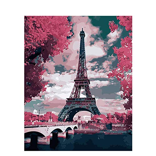 AKTYGB pintar por numeros adultos - Lienzo personalizado DIY Kits de pintura por números, regalo para mujeres principiantes, mamá, hija, 16 x 20 pulgadas- Torre Eiffel (sin marco)