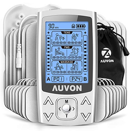 AUVON Dual Channel TENS EMS Unit 24 Modes Muscle Stimulator for Pain Relief & Muscle Strength for Tired and Sore Muscles in Your Shoulders, Back, Ab's, Legs, Knee's and More (2