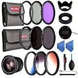 Beschoi 58mm UV Filter, CPL Filter, FLD Filters, ND Filter Kit (ND2 + ND4 + ND8), Graduated Color Filter Set (Orange, Blue, Gray), 0.35x HD Wide Angle Fisheye, Lens Hoods, Lens Cap, Cleaning kit
