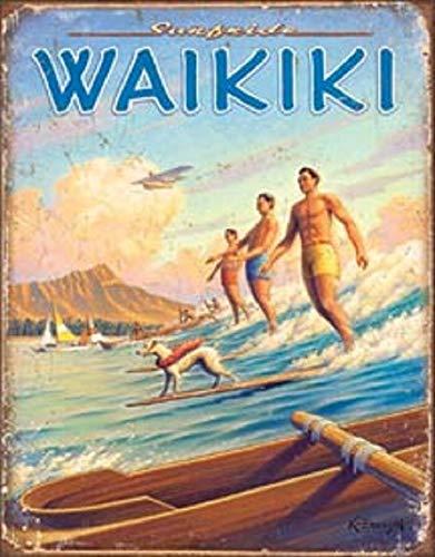 Cartel retro de metal vintage de 30,5 x 20,3 cm Hawaii Waikiki Beach Surfside Ocean Waves Surf Wall Art Decoración de aluminio al aire libre interior rústico signo