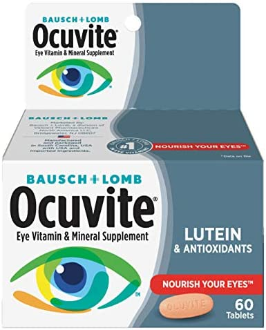 Bausch + Lomb Ocuvite Vitamin & Mineral Supplement Tablets with Lutein, 120 Count Bottle (Pack of 2)
