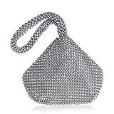 Bolsos Mujer Bolsos De Noche para Mujeres Mini Bolsos De Mano Damas Monedero Pequeño Banquete De Boda Elegantes Bolsos De Diamantes De Imitación Plata