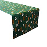 lovemyfabric Football Table Runner NFL Sports Team Greenbay Packers 100% Cotton Table Decor Events BBQ Tailgating Themed Party (12' x 58', Text)