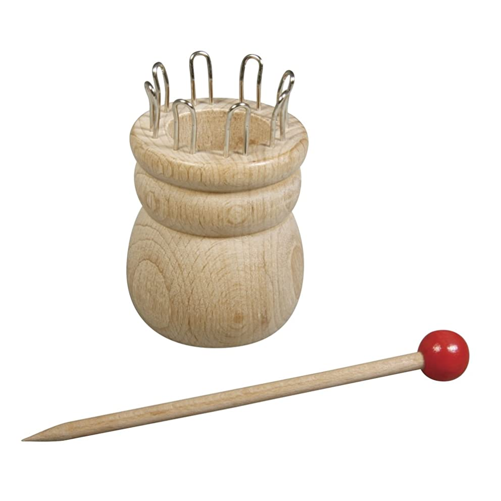 Rayher Wooden Knitting Jenny with Needle Diameter 4.4 cm 100% FSC 6.2 cm 8 Eyelets Hole with 2.5 cm Diameter