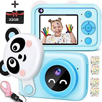 Kids Camera 1080P HD Digital Dual Video Cameras, Portable Toy Best Birthday Gifts for 4~13 Year Old Girls, Shockproof Children Electronic Camera with 32GB TF Card for Toddler Elementary Students by