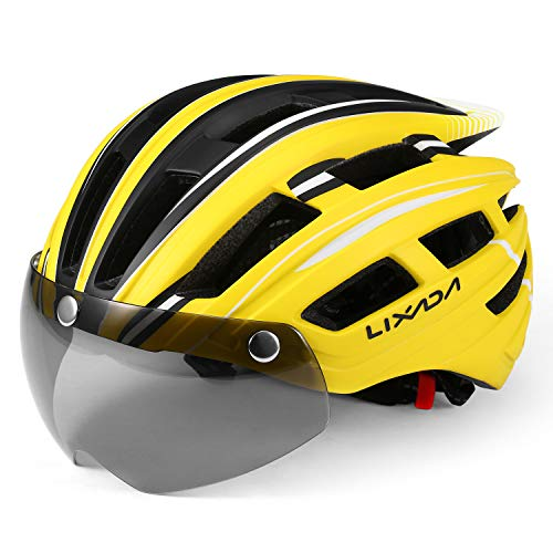 Lixada Mountain Bike Helmet Breathable Motorcycling Helmet with Back Light Detachable UV Protective Magnetic Goggles Visor for Men Women