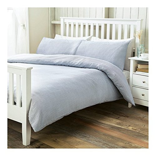 Tesco Ticking Stripe Basic Double Size Duvet Cover + Pillowcase Set - Blue - Bedding - Quilt Cover Set