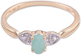 Multi-Gem Emerald 14k Yellow Gold & .925 Sterling Cocktail Ring 'Gleaming Allure'