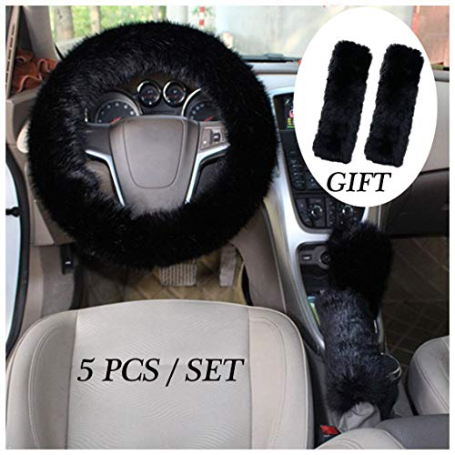 GIJITIF 1 Set 5 Pcs Car Steering Wheel Cover with Handbrake Cover & Gear Shift Cover & Seat Belt Shoulder Pads Fluffy Soft Warm in Winter 15 Inch (Black)
