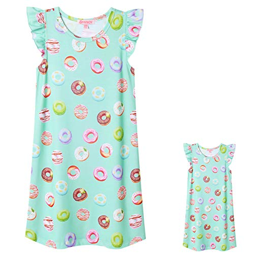 Donut Nightgown for American Girls Matching Girls&Dolls Pajamas Dresses,Size 8 9