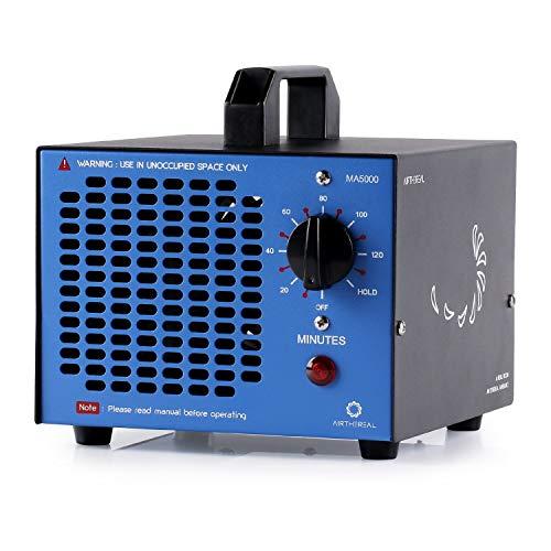 Airthereal MA5000 5.000mg/Std. Kommerzieller Ozongenerator Geruchskiller, Ozon Luftreiniger Ozongerät Ozonisator mit Timer für Zimmer, Rauch, Autos und Haustiere, Metall, Blau