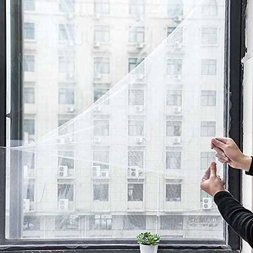 Pantalla ajustable para ventana de bricolaje máx. 130 x 150 cm, ventana blanca autoadhesiva, malla lavable para insectos, mosquitos, moscas, gatos, fácil instalación, semitransparente