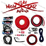 Dual Amp Kit Sky High Car Audio 1/0 OFC to Dual 4 Gauge OFC Complete Install Kit (Red/Black)