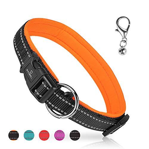 MASBRILL Collar de Perro Duradero y Reflectante, Ajustable Collar para Perros Grandes o Pequeños, Fabricado de Nylon con Suave Acolchado (Naranja L)