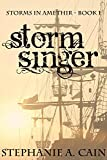 Stormsinger book cover with ship's rigging