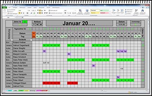 Excel Urlaubsplaner 2021 2022 u.s.w. digitaler elektronischer Urlaubskalender Personalplaner Dienstplaner Urlaubsplan mit Statistik Jahresübersicht Erinnerungsliste und Urlaubsantrag