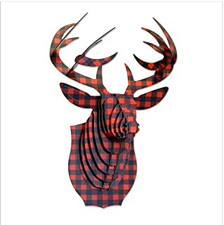 Cardboard Safari Recycled Cardboard Animal Taxidermy Deer Trophy Head, Limited Edition Bucky Plaid Red, Small