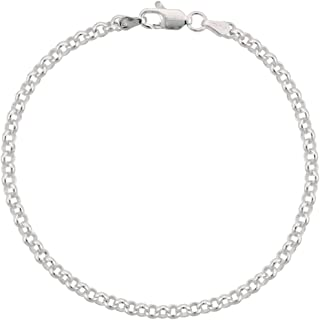 Sterling Silver Italian Rolo Chain Necklace 3.5mm Nickel Free, Sizes 7-30 inch