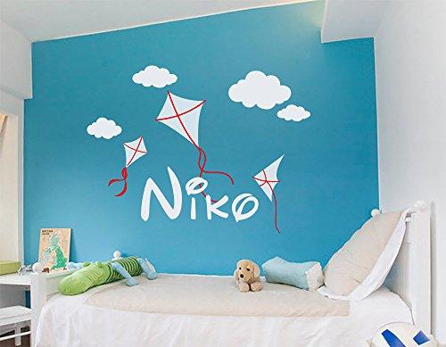 Sticker mural personnalisé avec monogramme nom personnalisé garçon nom Kite cadeau pour enfant ou chambre d'enfant Sticker mural en vinyle Garçon et fille Style Sticker mural décoratif pour bébé