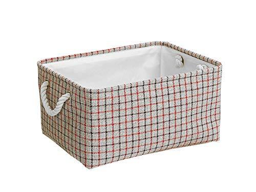 Caja de almacenamiento de tela, canasta de almacenamiento plegable para bebés con asas de cuerda para ropa, estante, armario, juguetes, cajas de almacenamiento de oficina (Red, 41x32x20 cm)