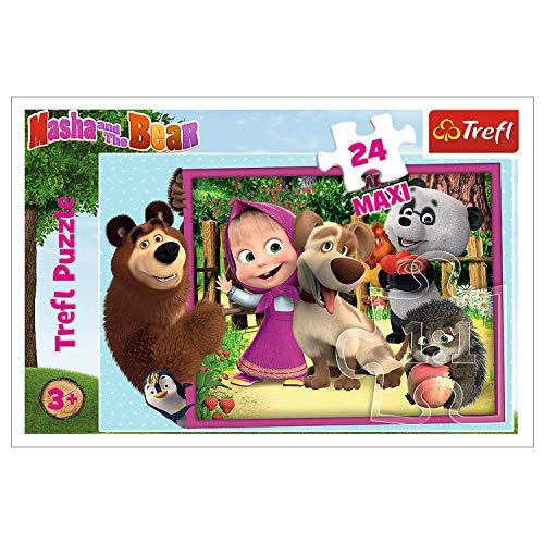 Trefl- Mascha und Der Bär, Masha and The Bear Maxiteile, für Kinder AB 3 Jahren Puzle 24 Maxi, Multicolor (14301)
