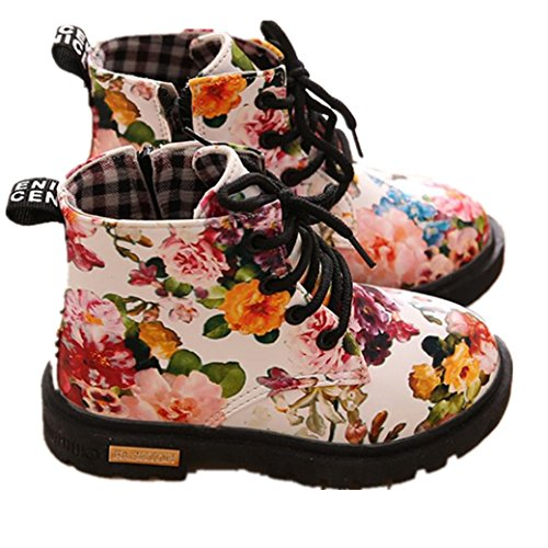 Digood Toddler Baby Kids Girls Boys Fashion Floral Lace-Up Shoes Martin Boots Casual Children Boots (2-2.5 Years Old, White)