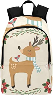 Colorful Deer Friend Bird Christmas Casual Daypack Travel Bag College School Backpack for Mens and Women