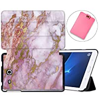 MAITTAO Galaxy Tab A 7.0 Case Model SM-T280 / SM-T285, Slim Folio Shell Case Stand Cover for Samsung Galaxy Tab A 7 Inch 2016 Release & Tablet Sleeve Bag 2 in 1 Bundle, Marble 18