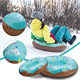 Winter Snow Tube for Sledding - Inflatable 31' Heavy Duty Large Snow Sled Inner Tube - Skiing Ring PVC Snow Sled Tire Tube Ski Pad Outdoor Activities with Handle for Kids Teens Adults Winter Sports