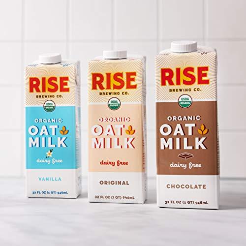 RISE Brewing Co. | Oat Milk Variety Pack (6 32 fl. oz. Cartons) [2 - Original, 2 - Vanilla, 2- Chocolate] - USDA Organic & Non-GMO | Shelf Stable | Plant Based | Non Dairy Milk | Vegan