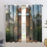 Ju_Rassic World - Juego de cortinas para sala de estar (42 x 54)