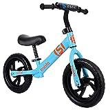 ASDF Balance Bikes Blue Balance Bikes para niños de 3 años, Bicicleta para niños pequeños de 12 Pulgadas con neumáticos de Goma, construida para Edades de 3 años en adelante