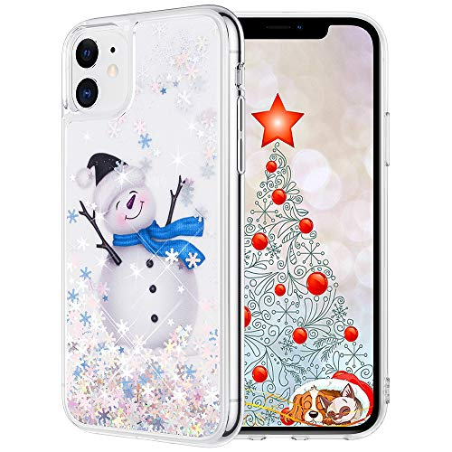 Maxdara Christmas Case for iPhone 11, Merry Christmas Snowman Pattern Glitter Liquid Bling Sparkle Cute Case for Girls Children Women Gifts Christmas Case for iPhone 11 6.1 inches(Snowman)