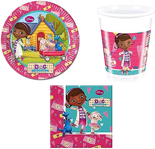 ILS I LOVE SHOPPING Set Festa Coordinato Tavola Addobbi Kit Party Compleanno con 8 Piatti 23cm, 8 Bicchieri e 20 tovaglioli Dotti Disney Dottoressa Peluche Doc McStuffins