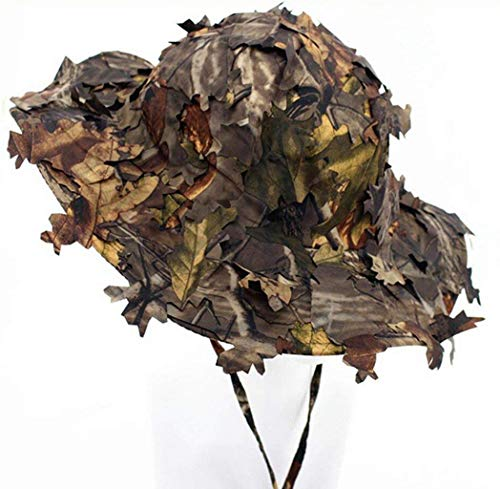 OAREA Airsoft Tactique Woodland Feuilles Camo Sniper Boonie Chapeaux Militaire pour Hommes/Camouflage Respirant Chasse Parasol Baseball Casquettes