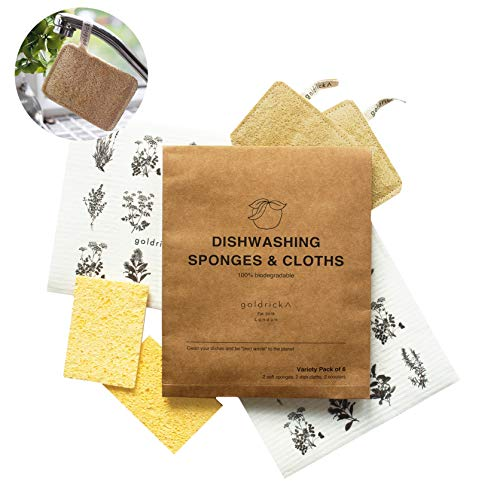 Goldrick Eco Kitchen Sponge Set | 6 Piece Set | Loofah Scourer Sponge | Eco Dish Cloth | Natural Dish Sponge | Plastic Free | Zero Waste | Vegan | Zero Waste Kitchen Accessory | 100% Biodegradable