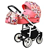 Kinderwagen 3 in 1 Komplettset mit Autositz Isofix Babywanne Babyschale Buggy Colorlux White by ChillyKids Pansies 4in1 Autositz +Isofix
