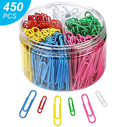 Paper Clips, 450Pcs Colored Paper Clips, Paper Clips with Medium 28mm and Jumbo Sizes 50mm, 6 Assorted Colors Paper Clips for School, Office, Personal Files Organizing, Professional Use