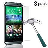 HTC One M8 Screen Protector, TANTEK [Bubble-Free][HD-Clear][Anti-Scratch][Anti-Glare][Anti-Fingerprint] Tempered Glass Screen Protector for HTC One M8 / HTC M8 [2014],-[3Pack]