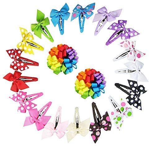 """Bundle: 17pc Small 2 Inch Pinwheel Bow Metal Barrettes and 2pc 2.5"""" Rainbow Loopy Puff Hair Clips"""