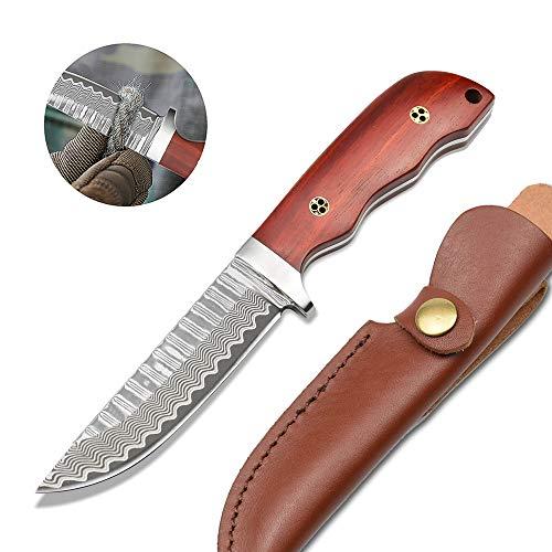 NedFoss Damastmesser jagdmesser aus Voll- Damaststahl, Gürtelmesser mit Leder Holster und hochwertigem Geschenkbox, Holz Griff, scharf