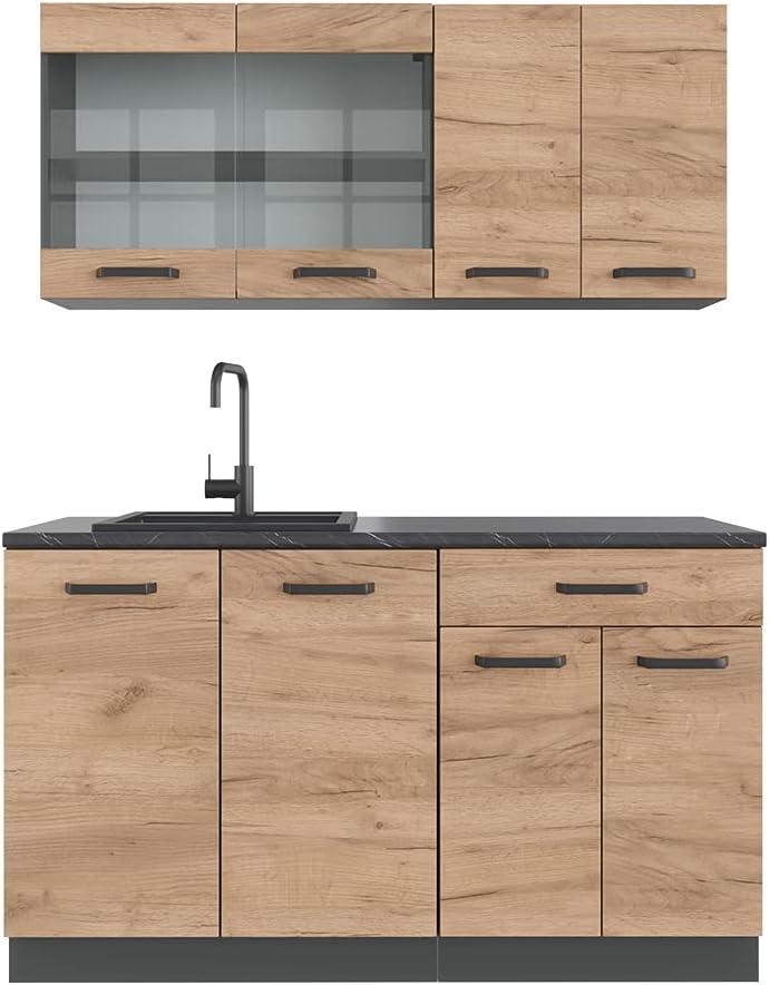 VICCO Küchenzeile R-LINE Single Einbauküche 140 cm Küche Küchenblock Singleküche (Eiche)