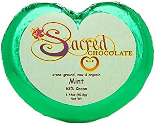 Sacred Chocolate MINT Maple Sweetened, Stone-Ground, Organic Vegan RAW Chocolate 62% Cacao 1.44oz Bar (12 Pack)
