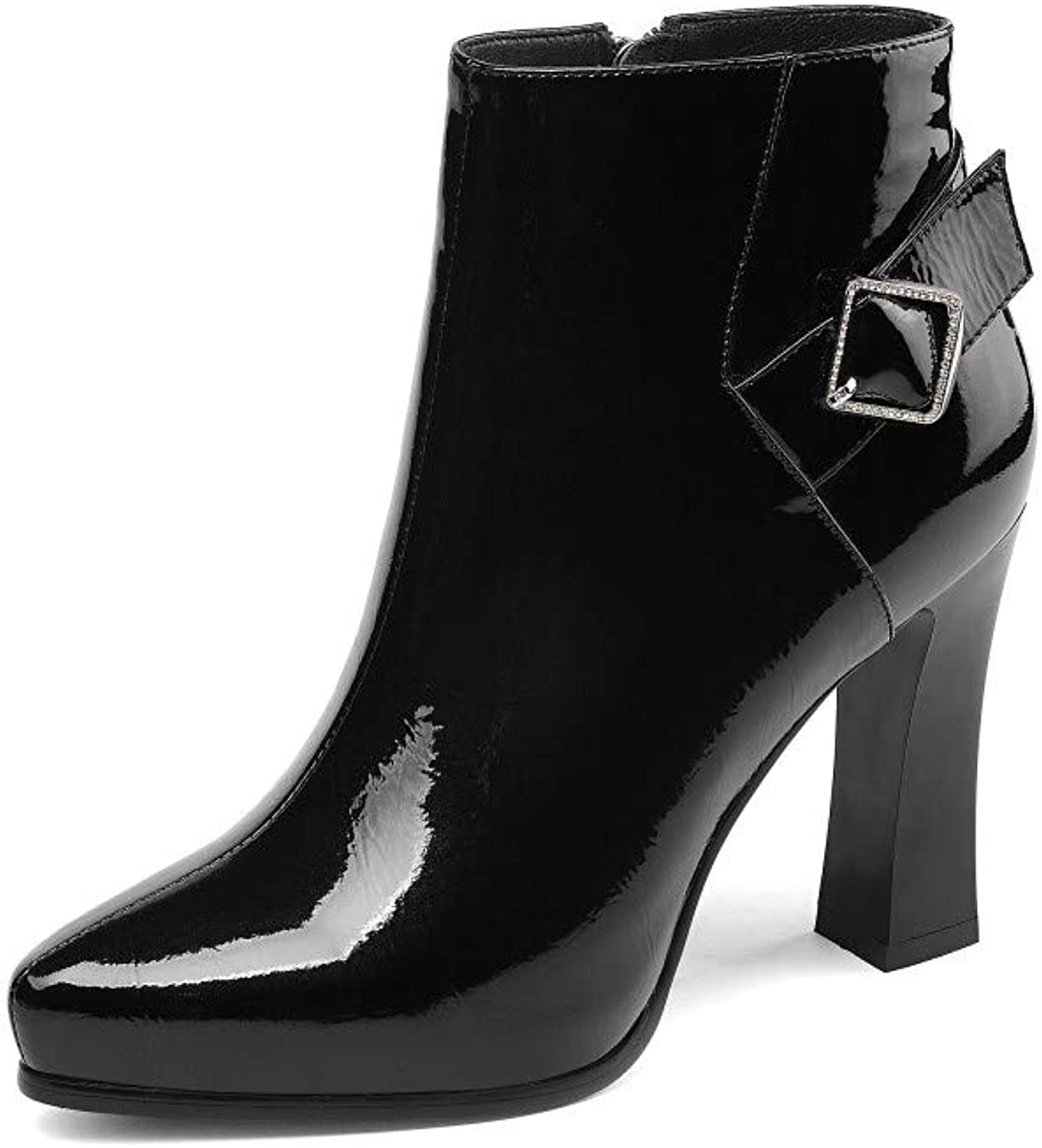 Nine Seven Patent Leather Women's Pointed Toe High Chunky Heel Side Zip Handmade Buckle Strap Graceful Dress Ankle Booties