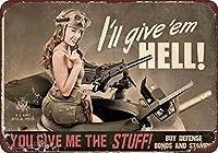 ヴィンテージ女性アメリカ陸軍再現メタルブリキ看板