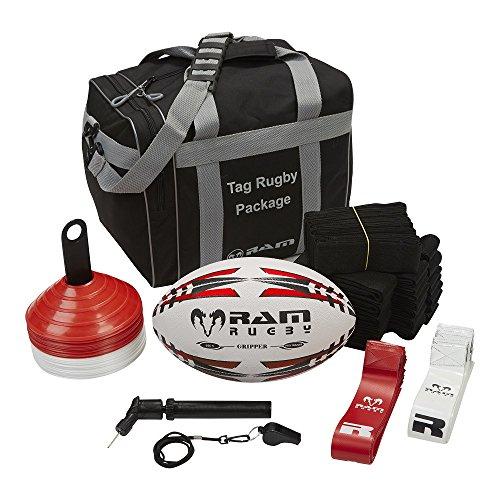 RAM Tag Rugby Paket–beinhaltet Tag Gürtel, Rugby Ball, Pumpe, Pfeife, Tannenzapfen und Tragetasche, 3Größen erhältlich