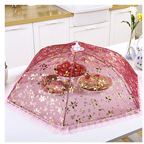 Isolation Couvercle de table Grand filet net Couvercle de nourriture pliant Couverture de repas ronde Housse de nourriture Couvercle de cuisine Couvercle de couverture de couverture de protection (75C